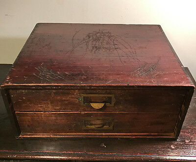 Antique Wood 2-Drawer Mini Dovetail Filing Storage Cabinet, 1870-1900