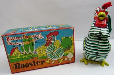 Vintage Cock-A-Doo-Dle-Doo Rooster Mikuni Japan Battery Operated Tin Litho Toy