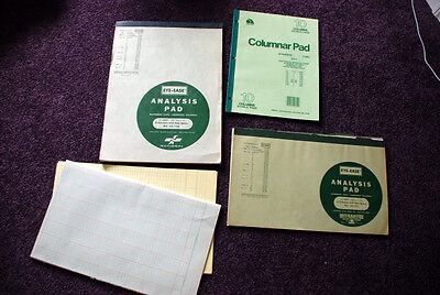 Vintage Lot of Analysis and Columnar Pads - Eye-Ease and Ampad