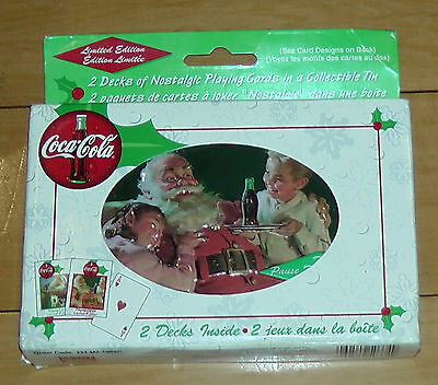 VINTAGE TIN TWO DECKS OF COCA-COLA PLAYING CARDS 1999 SANTA Limited Ed Sealed
