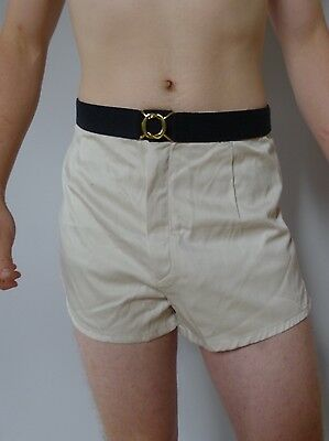 Vintage retro 1950s XL unused cream trunks swimsuit shirts mens NOS