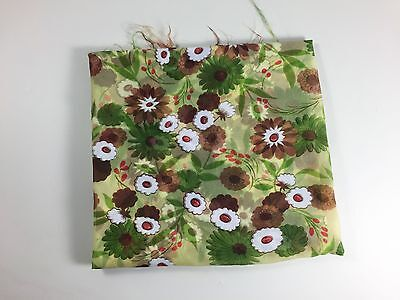 Vintage Green Floral Fabric White Brown Flower Daisy Sheer 1960s Sewing