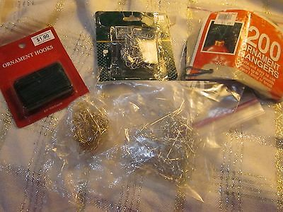 Christmas Tree Ornament Hooks Hangers Metal Plastic Lrge Small Gold Silver Green