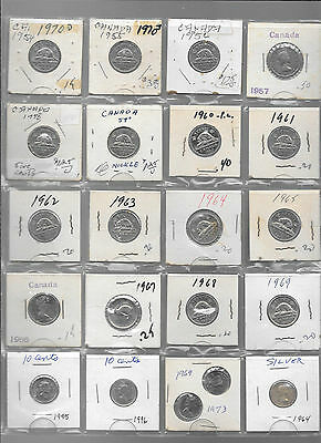 80 CANADIAN NICKELS & DIMES in Four Sets - Different Dates Each Set   Lot C-75