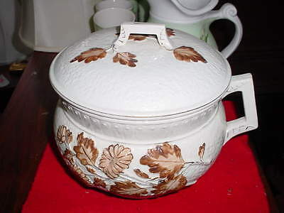 Antique Vintage Faience Chamber Pot W/lid Very Rare Raised Autumn Leaf Fr.ship.