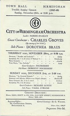 1945 Dorothea Braus piano Richard Strauss Charles Groves CBO concert programme