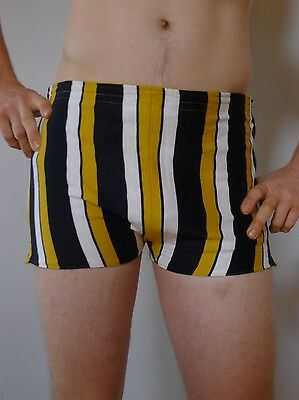 Vintage retro true 1960s 34 M unused reversible swimsuit mens trunks striped MOD