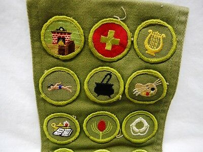 1960's Vintage BSA Boy Scout Merit Badge Sash with 29 Sewn Patches