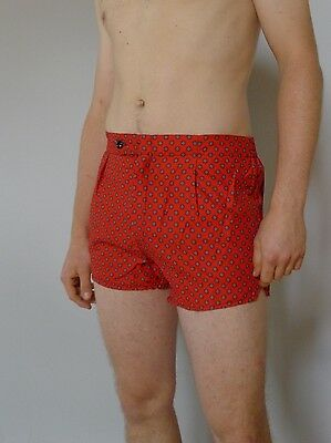 Vintage retro 1960s unused 34 M red cotton swimsuit trunks mens NOS tags