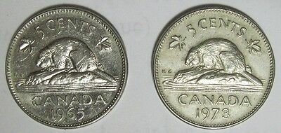 1965 and 1973 Canadian Nickels Circulated 5 cent coins