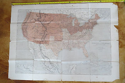 Original 1861 First Published Civil War United States Railroad Map
