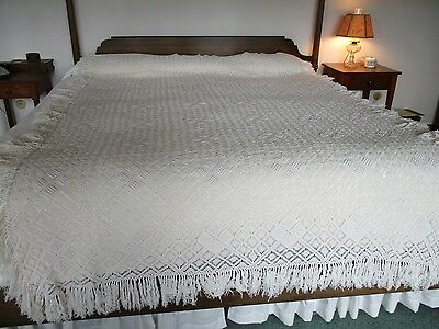 "Ivory Hand Crocheted Bedspread ""Popcorn"" Pattern Inserts Vintage, New,  Unused"