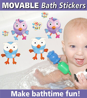 Giggle & Hoot Bath Bathroom Ceramic Tile Glass Reusable Stickers Decals
