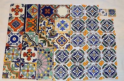 """Vintage Ceramic Tile Lot Of 34 Assorted 4"""" X 4"""" Tiles - Mosaic - Mexican?"""