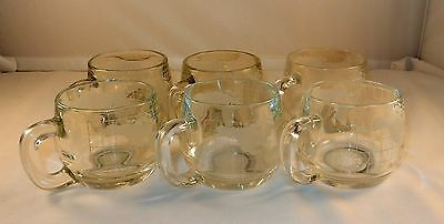 Vintage Lot Of 6 Nescafe World Globe Heavy Etched Glass Coffee Mugs