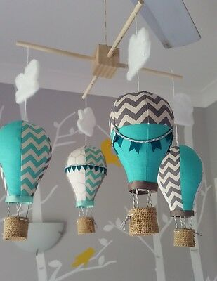 Baby mobile for childs nursery - Hot Air Balloons in Aqua Grey and White