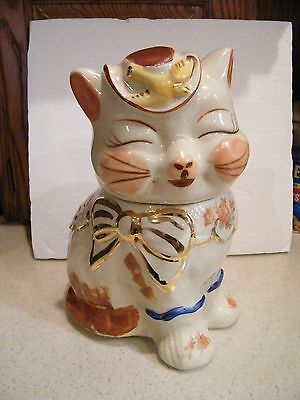 Vintage 1940's shawnee  Puss N Boots Cookie Jar Hand Painted Gold Trim