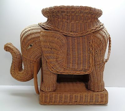 Vintage Wicker Rattan Elephant with Tusks Plant Stand OR Side Table - Unique!!