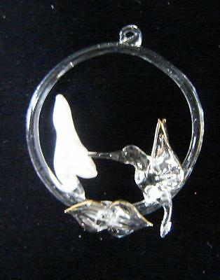 Glass Christmas Ornament Hummingbird And Flower; Trimmed In Gold, 3""