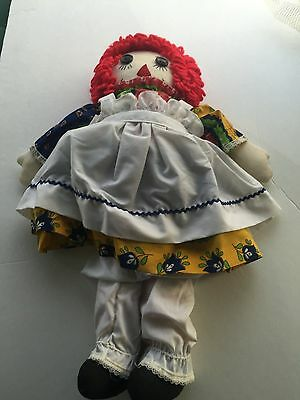 "Vintage  Raggedy Ann Doll 20"" Early 1980's  White and Multi-color Dress"