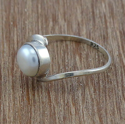 925 Sterling Silver Affordable Jewelry Handmade Pearl Ring s.8