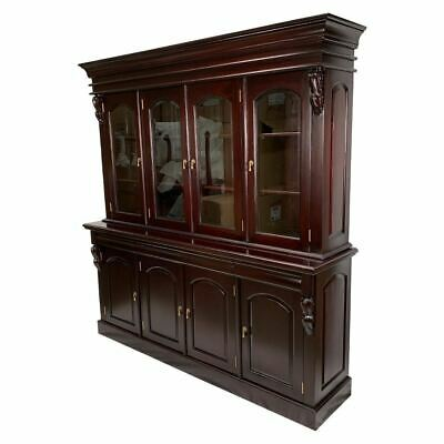 Antique Victorian Style Solid Mahogany Large 4 Door Display Cabinet / Bookcase