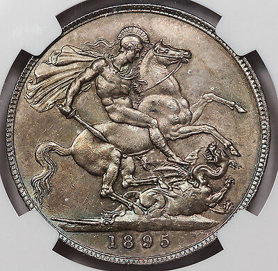 GREAT BRITAIN 1895 Silver CROWN Coin BU NGC MS64 Victoria KM-783.1 LIX Edge UK