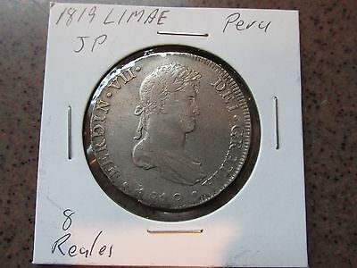1819 Peru Me JP Silver 8 Reales in VF Condition