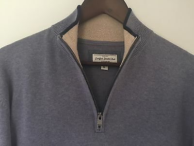 GAZMAN - Men's Casual Jumper- 100% cotton - Size M - Grey Marle with navy detail