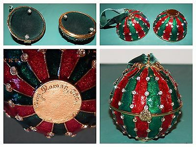 Christmas ball trinket box magnetized red & green & gold with crystals