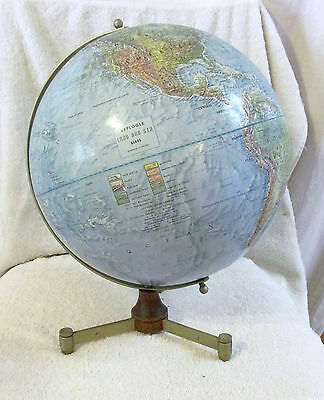"""VINTAGE Replogle Series 12"""" Globe Metal Stand 15"""" Tall Raised Topography CHICAGO"""