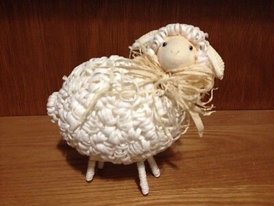 """Adorable White Straw Sheep 6.5"""" Tall"""