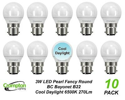 10 x Quality LED 4W Daylight Light Globes / Bulbs Bayonet B22 5000K Cool White