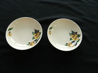 Universal Ballerina Potteries Dessert / Berry Dishes Yellow Roses Made in USA 2