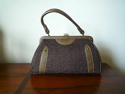 Vintage Brown Purse Handbag Tweed and Leather Made in USA