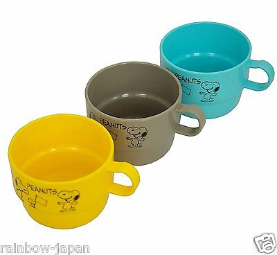 Vintage SNOOPY Peanuts Plastic Mug 3PCS Set Woodstock Yellow Christmas Gift