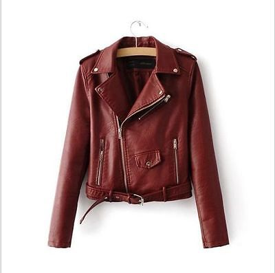 Women Autumn Winter Synthetic Leather Biker Jacket