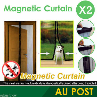 2X Magnetic Fly Screen Magic Mesh, Mosquito Bug Door Curtain For Hands Free