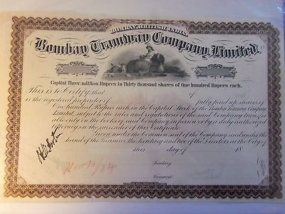 Bombay Tramway  Stock Certificate 1884 Thirty Thousand Shares