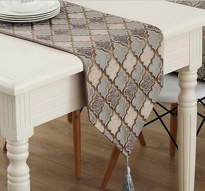 Simple Rhombus Table Runner Vintage Embroidery Home Bed Table Runner with Tassel