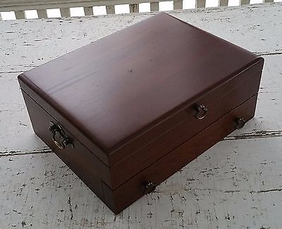 Vintage Reed & Barton Wood Silverware Flatware Storage Box Case Chest w/ Drawer