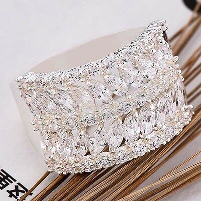 Women Fashion 925 Sterling Silver White Sapphire Gemstone Band Ring Jewelry New