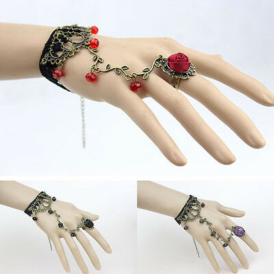 Gothic Women Lace Flower Hand Slave Harness Bracelet Chain Ring Jewelry Utility