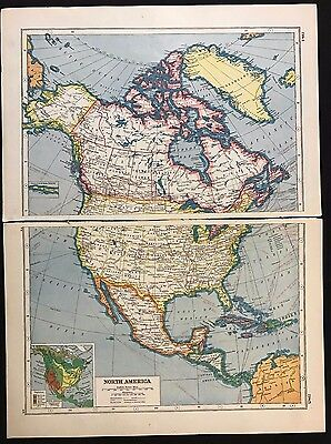Vintage Map 1920, North America - Harmsworth's Atlas