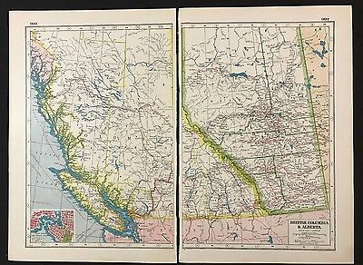 Vintage Map 1920, British Columbia & Alberta, Canada - Harmsworth's Atlas
