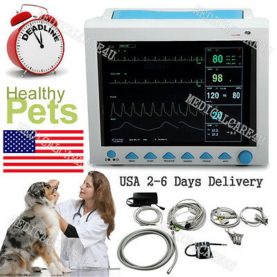 FDA US Seller Veterinary Patient monitor VET Vital Signs ECG NIBP SPO2 RESP TEMP