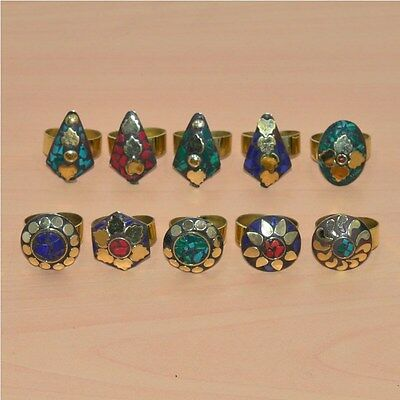 10 Pc Wholesale 925 Tibetan Silver Coral & Mix Stone Big Adjustable Ring Lot