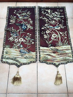 "Pair of Bird Tapestries Wall Hanging 18"" x 45"" each"