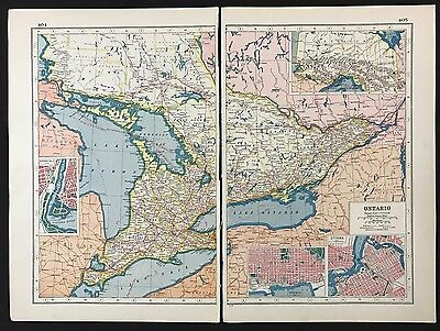 Vintage Map 1920, Ontario, Canada - Harmsworth's Atlas