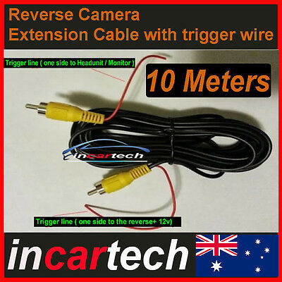 Car reverse camera install 10M meters Video extension cable W power trigger wire